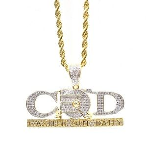 14k Gold Lab Diamond CASHED OUT DAILY Charm Chain